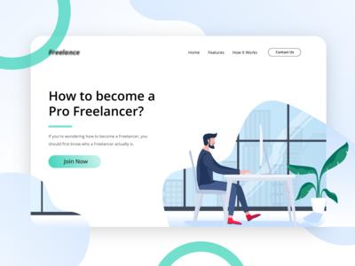 Freelancer - Become Freelancer in a Second Header Website flat header illustration illustration parttime office character work freelancer green ux ui website web freelance