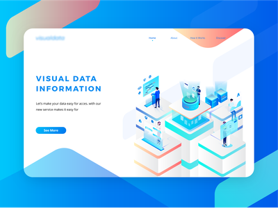 Visually - Access Your Data Anytime Anywhere blue isometric cloud data server vector illustration header illustration ui website web