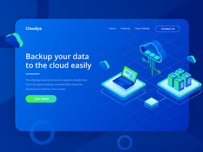 Cloudya - Backup Your Data to The Cloud Easily computing data networking computer blue cloud server isometric vector illustration header illustration ui website web