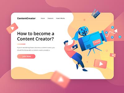 ContentCreator - How to Become a Content Creator? character salary revenue recording video camera orange flat vector illustration header illustration ui website web