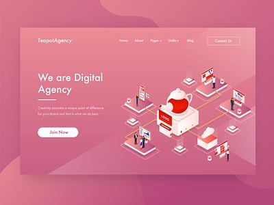 TeapotAgency - We are Digital Agency Header Ilustration branding brand design studio agency tea pot orange isometric vector illustration header illustration ui website web