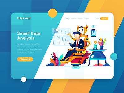 Robot Kecil - Smart Data Analysis Header Ilustration automatisation orange blue data analytics analysis robot design flat illustration header illustration ui website web