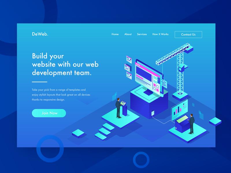 DeWeb - Build your website with our web development team team development branding brand design studio agency tea pot orange isometric vector illustration header illustration ui website web