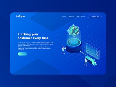 CariYuk - Tracking Your Customer Everytime ariticial intelligence isometric customer tracking vector illustration header illustration ui website web