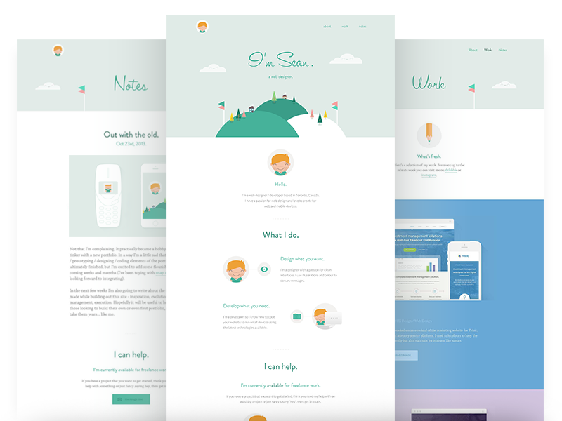 Portfolio / Live homepage light clean wip green flat minimal portfolio