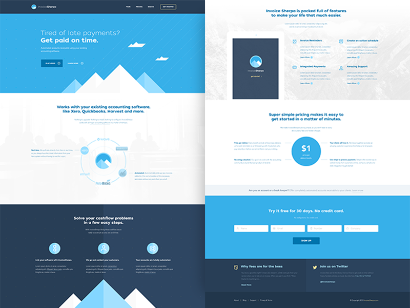 Sherpa / Home flat minimal homepage clean blue illo white light