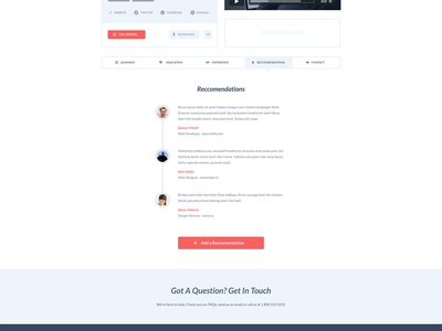 Employify / Resume flat minimal homepage clean red blue white cv resume