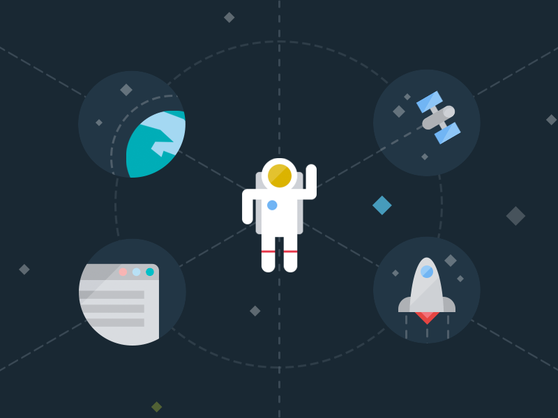 Spaceman, I always wanted you to go... spaceman icon earth blue dark flat satellite