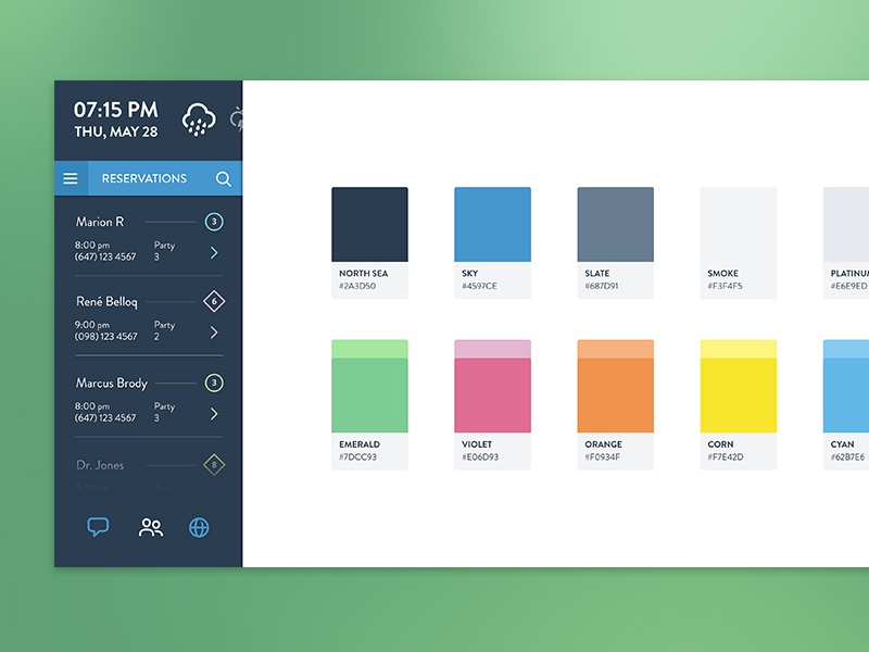 Reservation / Colours flat minimal ui ux clean colours colors color scheme table reservation