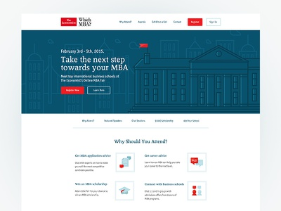 The Economist / Careers Fair economist illustrations red careers mba web design landing page