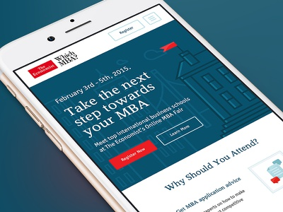 The Economist / Mobile economist illustrations red careers mba web design landing page