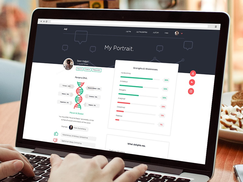 Personal Analytics profile page web design flat red green illustrations