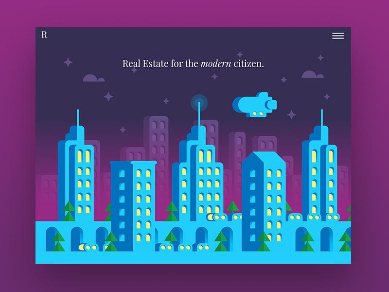 Real Estate / Card blimp landing page marketing site web design night marketing illustration illo city cityscape flat web