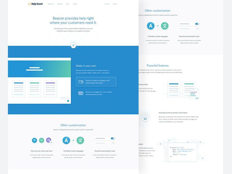 Beacon / Landing Page animation illustrations blue clean web design landing page