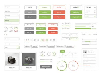 Flat Stroke UI Kit ui flat stroke buttons forms graphs icons widgets audio uploading cart