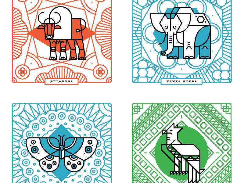 Woodburl Coasters illustration patterns coffee animals wood burl