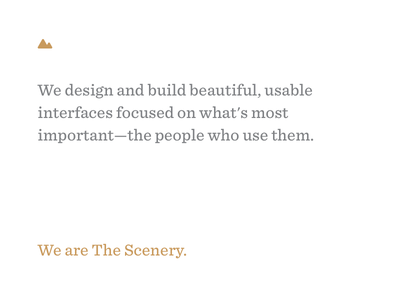 We are The Scenery hooray agency interface announcements scenery