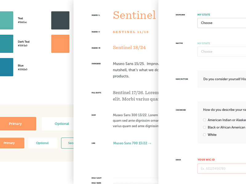 WIC Style Guide branding museo sentinel typography ui style