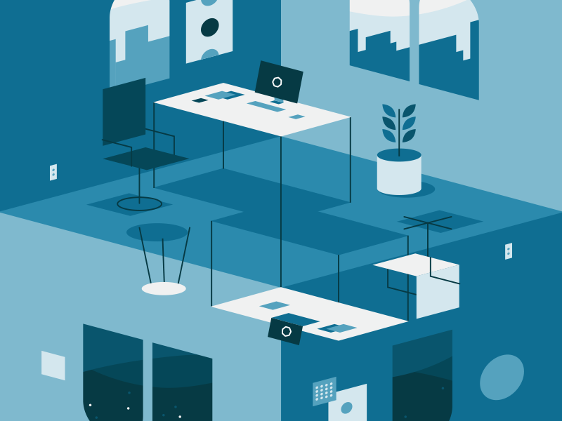 Hightail Collaboration flat illustration rooms optical illusion collaboration