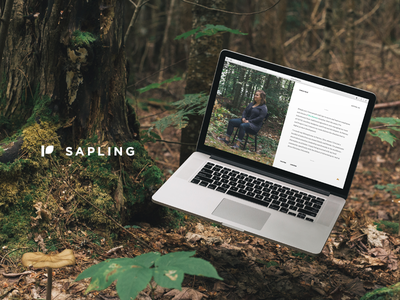 Sapling — A Free Cover Page Template ui floating laptop trees cover website