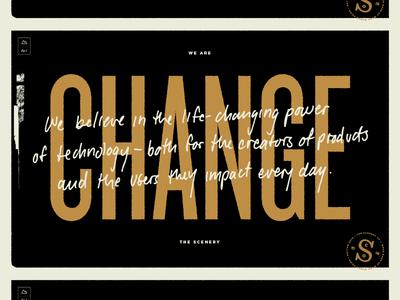 Change grit gold gotham hand-written type