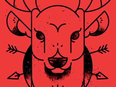 Deer illustration deer arrows 17 grit vector brushes red black