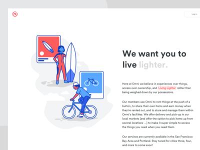 Omni About Page circular organic illustration marketing