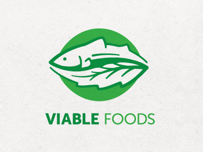 Viable Foods logo identity fish leaf green