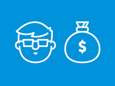 Nerd Money virb video illustration nerd web developer money bag blue glasses