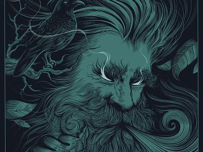Old Man Winter Art Print etching illustration crow linework screenprint linocut style gig poster posterdesign poster