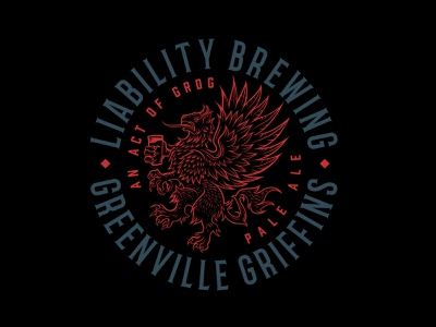 Badge Design for Liability Brewing illustration seal brewery brewing company beer griffin linework crest badgedesign logo