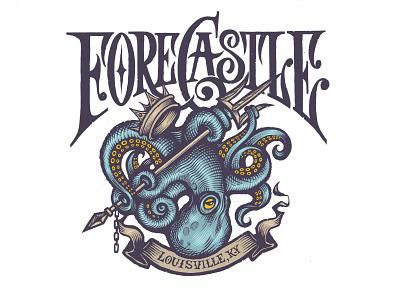 Forcastle Festival Artwork logos sea posiden ocean victorian type victorian customtype logo logodesign crown triton octopus festival