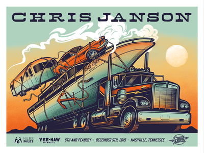 Chris Janson Poster Design tractor trailer semi airstream truck illustration logo nashville country music country poster design poster