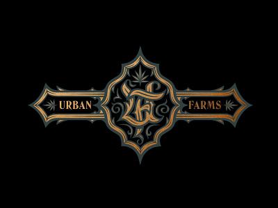 Urban Farms Cannabis Badge Design flourish illustration victorian design branding badge leaf logodesign cannabis crest blackletter handlettering logo design logo