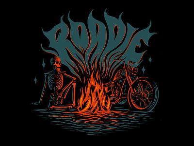 Roadie Brand Apparel Design skull skeleton chopper shirt design illustration handlettering custom type groovy apparel design branding logo design logo fire motorcycle art motorcycle