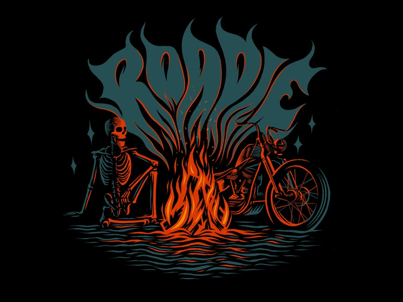 Roadie Brand Apparel Design skull skeleton chopper shirt design illustration handlettering custom type groovy apparel design branding logo design logo fire motorcycle art motorcycle