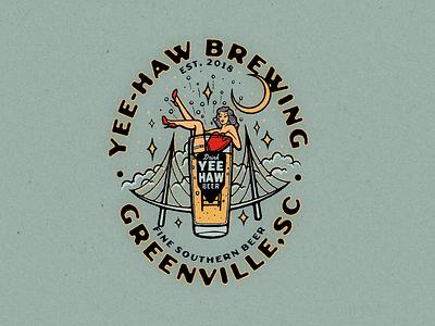 Yee Haw Brewing Pin Up Artwork badgedesign branding beer art brewing beer handlettering illustration logo