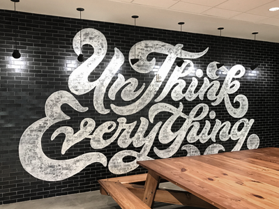Mural Design / Custom Typography ligatures fat brick type font script logo seventies 70s wall mural
