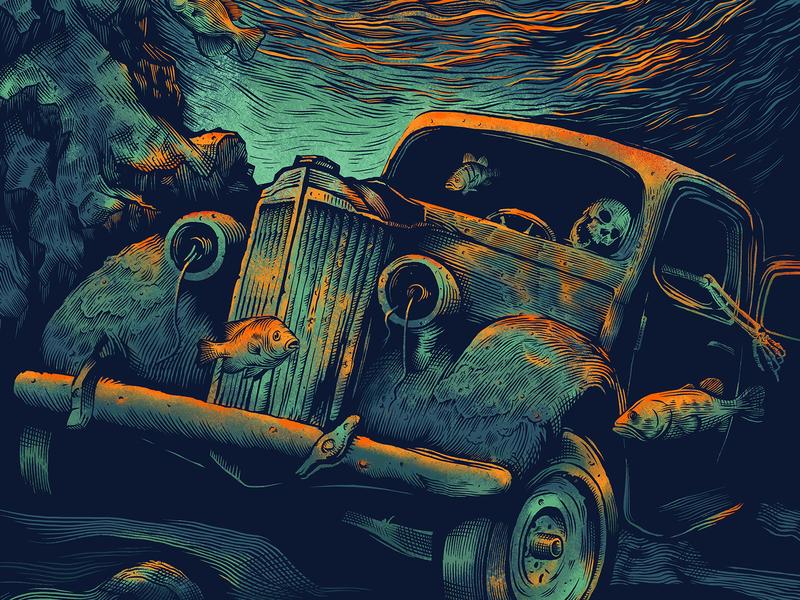 Poster Design WIP poster design rusty rust ford vintage car car skull skeleton fish illustration water under water