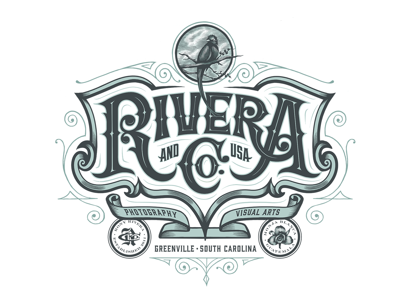 Rivera and Co. Logo Design scratchboard engraving handlettering victorian bird icon company circle badgedesign crest bird