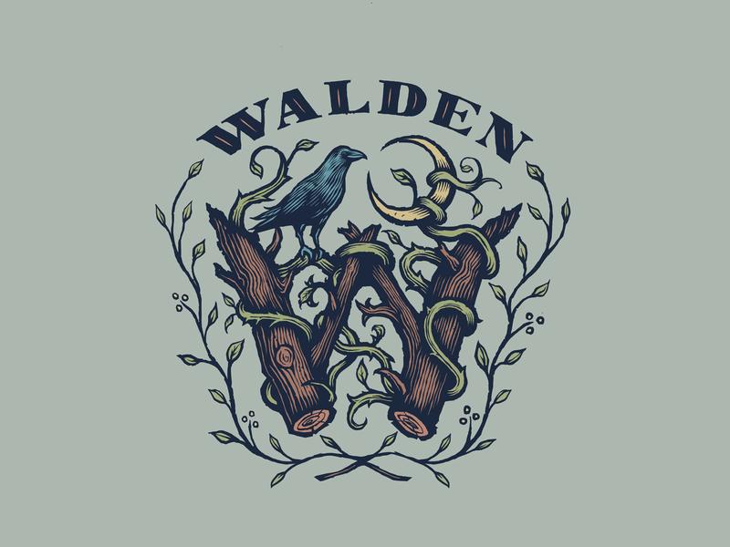 Walden Band Brand Exploration georgia gig poster band merch moon crow logo woods woods logo logo design