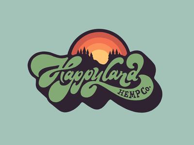 Happyland Hemp Farm Logo Design marijuana mountains hippie 70s sunset script lettering hemp