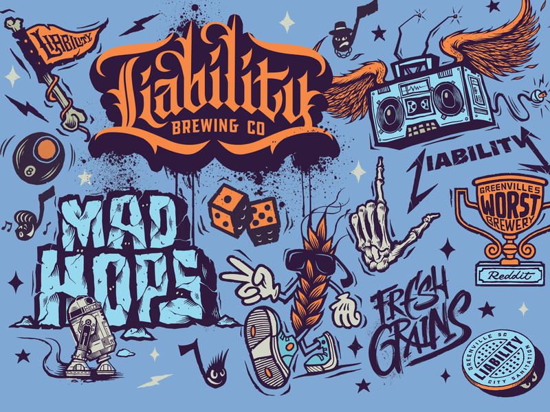 Liability Brewing Company Flash / Can Designs brewing company trophy skull skeleton handlettering star wars brewing beer