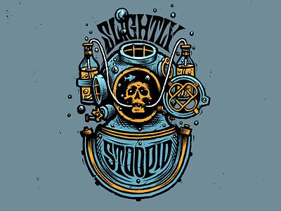 Slightly Stoopid Concepts badge badgedesign calligraphy handlettering illustration logo design diving board helmet fish navy skeleton skull beer logo diving
