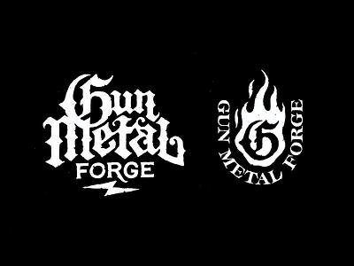 Logo for a Blacksmith fire blackletter gunmetal gun logo forged best made heritage tool blacksmith