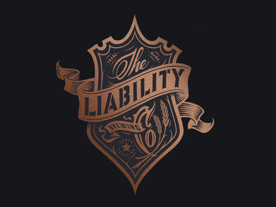 Liability Brewing Company Crest Design wheat handlettering banner seal brewing company brewing victorian woodcut engraving badgedesign crest logo design