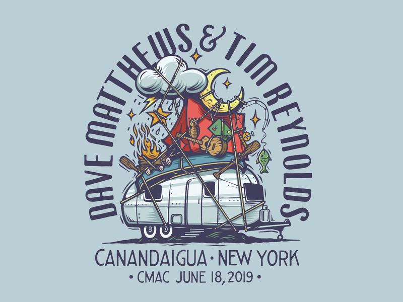 Dave Matthews & Tim Reynolds Merch canoe logo fishing patagonia hippie moon camping vintage airstream tent