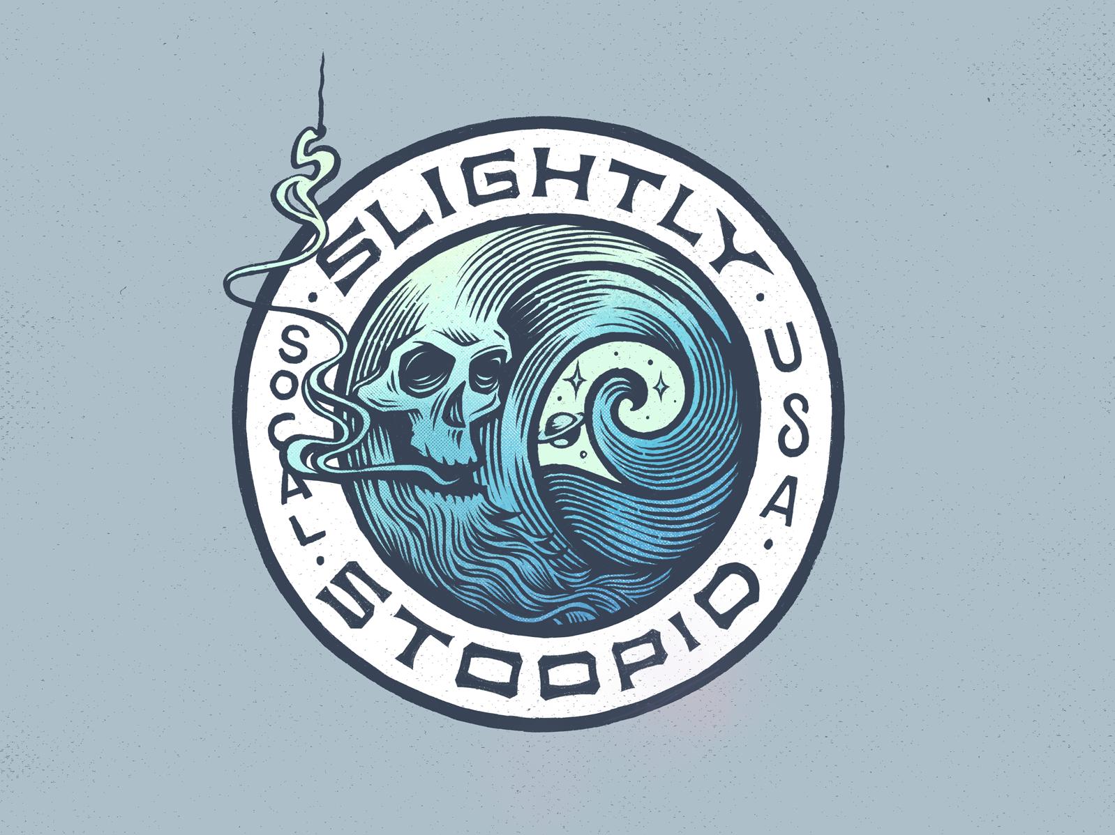 Slightly Stoopid Merch Design musician smoke moon surfing logo water logo surf