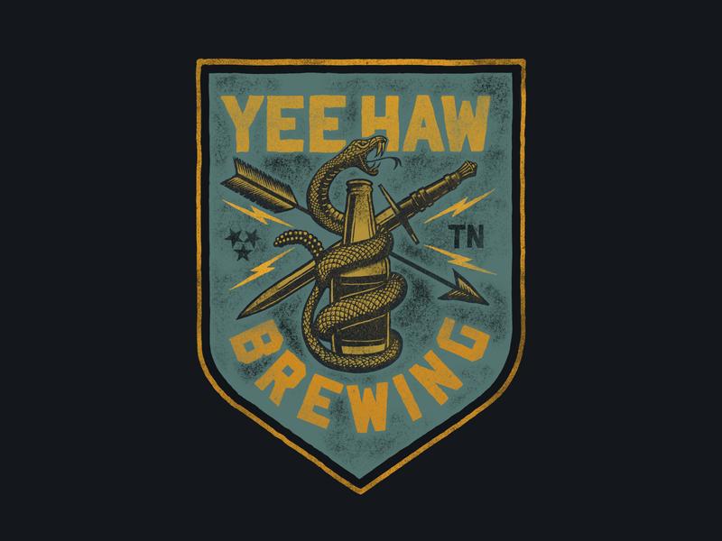 Yee-Haw Brewing Banner Design snake logo knife badgedesign snake beer brewery