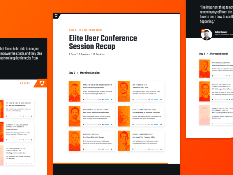 Post-Conference Recap gradient technology website web design web sports presentation speaker play button audio player orange layout card grid layout grid conference audio